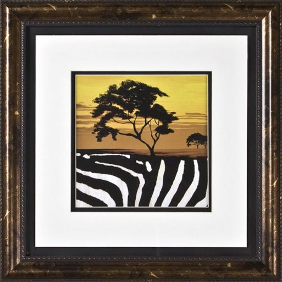 Zebra African Tree II Print Under Glass Wall Art